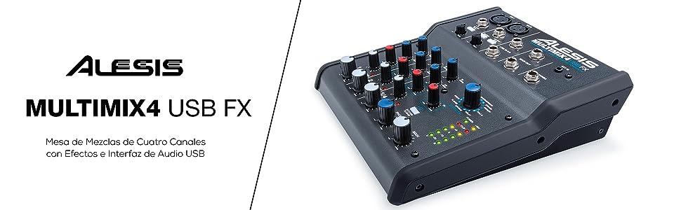 Alesis MultiMix 4 USB FX - Mezclador de estudio compacto de 4 ...