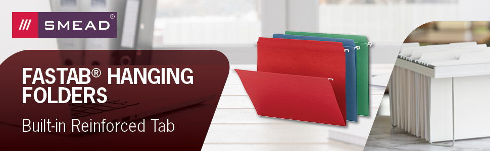 Smead banner, FasTab hanging file folders, legal and letter sizes available, built in tab