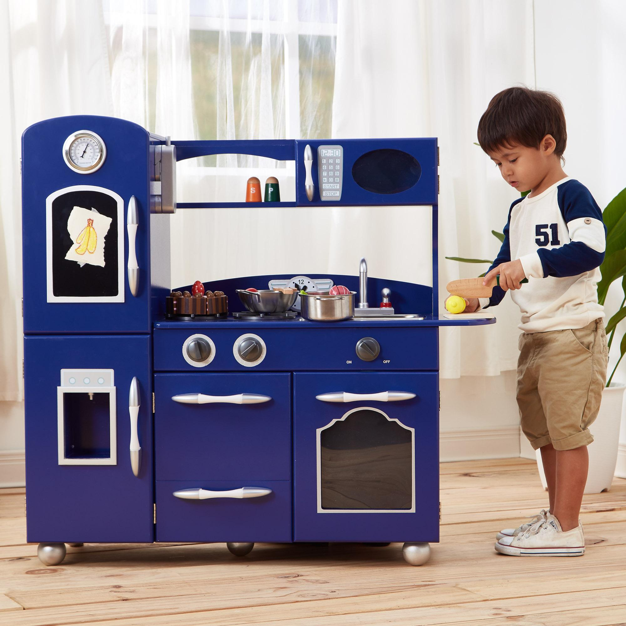 Teamson Kids Wooden Retro Play Kitchen For Toddler With Chalkboard Refrigerator Oven And