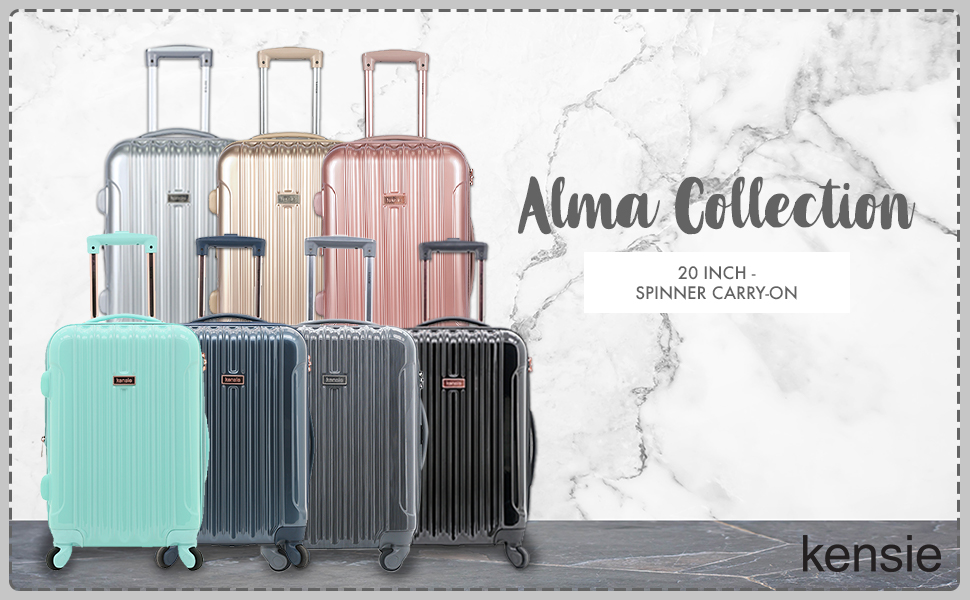alma collection, 20 inch, fashion, travel, spinner wheels, luggage, colors, cute, chic, expandable