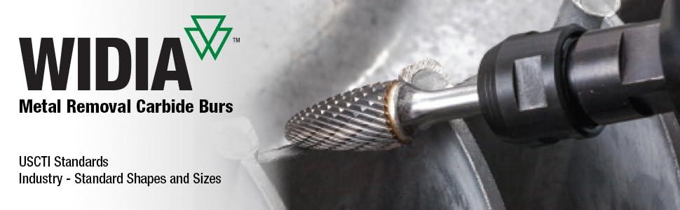 Master Cut Edge Right Hand Cut WIDIA Metal Removal Bur M41464 SL Carbide Included Angle Shape 0.25 Shank Diameter 0.25 Cutting Diameter