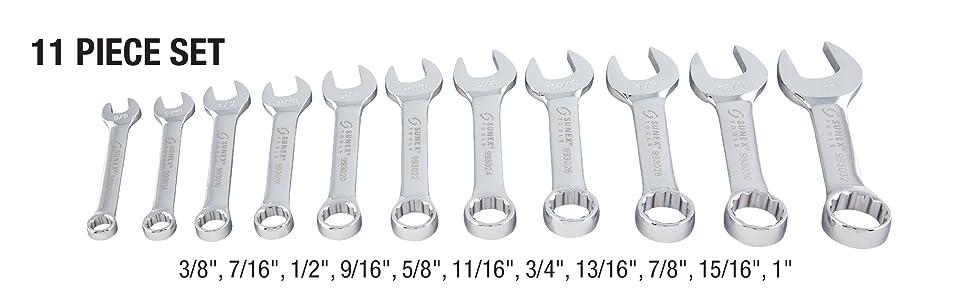"3//8/"" through 1/"" Sunex Tools 11 Piece SAE Stubby Combination Wrench Set 9930"