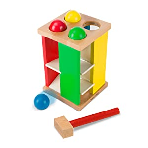 Melissa Amp Doug Deluxe Pound And Roll Wooden Tower Toy With