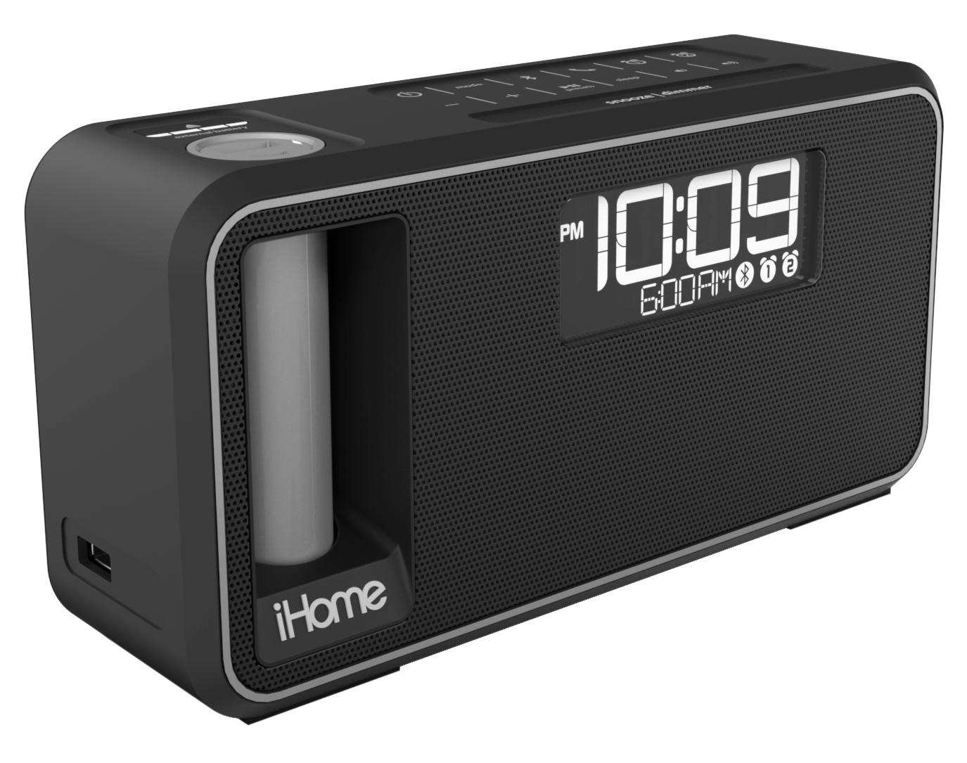 ihome ikn105bc dual charging bluetooth stereo alarm clock radio speakerphone with. Black Bedroom Furniture Sets. Home Design Ideas