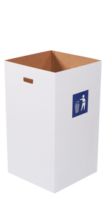 50 Gallon Corrugated Trash Cans with Waste Logo and Hand Holes