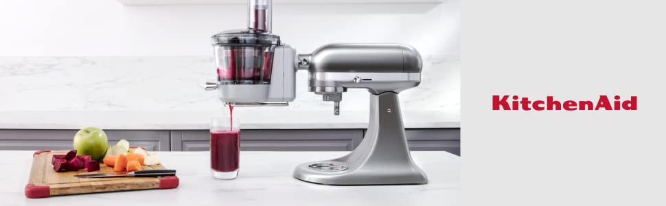 KitchenAid 5KSM1JA Maximum Extraction Slow Juicer and Sauce Attachment (Optional Accessory for KitchenAid Stand Mixers)