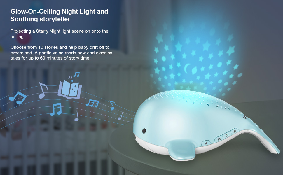 Glow-on-ceiling night light and soothing storyteller