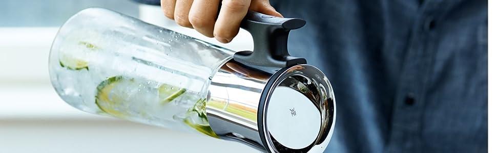 WMF 618046040 Wasserkaraffe Glas//Edelstahl//Schwarz