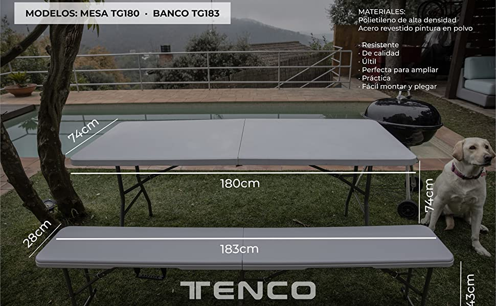 TENCO TG180 mesa plegable, blanco