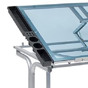 Angle Adjustable Glass Top with Pencil Ledge