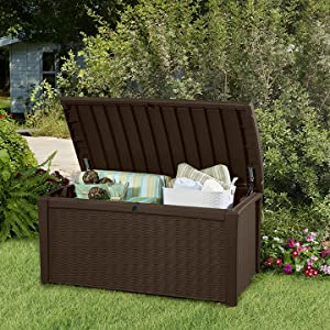 Garden outdoors rattan wicker storage box deck gardening tools equipment accessories cushions tools