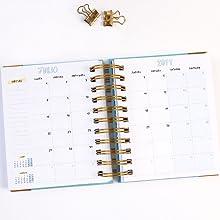Agenda con planificador mensual