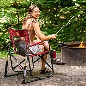 woman roasting marshmallows