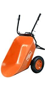outdoor lawn garden battery cordless electric powered wheel barrow wagon barrel dump utility car