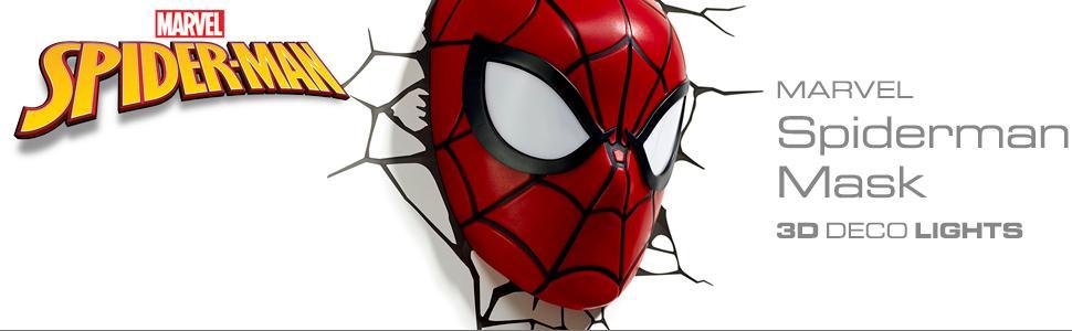 Marvel, Spiderman, Mask, 3D Deco Light, nightlight, LED bulbs, cordless, battery operated