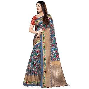 Rajnandini Women's Silk Printed Traditional Saree With Blouse Piece