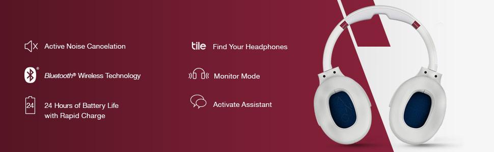 Venue Active Noise Canceling Wireless Headphones Features