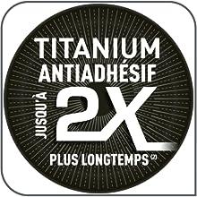 Revêtement titanium antiadhésfi dure jusqu'à 2 fois plus longtemps