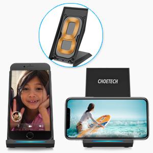 CHOETECH Cargador Inalámbrico Rápido Fast Wireless Charger Qi Cargador Rápido Soporte Compatible con iPhone XS/XS Max/XR/X/8/8 Plus, 10W Galaxy Note ...