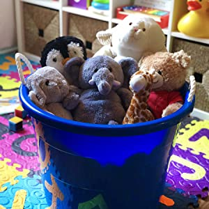 Indoor tub bucket decorative kids toy baby stuffed animal play house organize simple blue pink