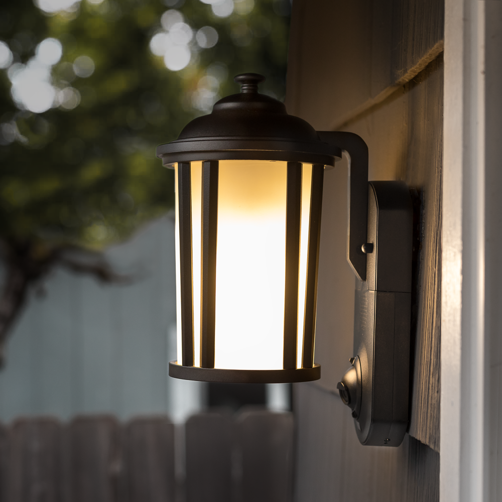 Traditional Smart Security Light Textured Black Finish