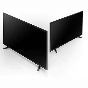 Three-quarter view of the Samsung 4K UHD TV, showing the slim design
