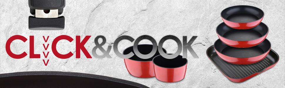 Bergner Click & Cook Cacerola, Aluminio Forjado, Red, 21.5 cm