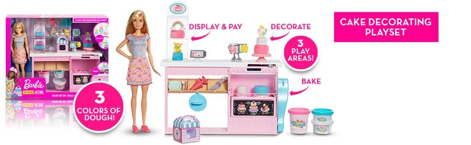 Barbie GFP59 Cake Decorating Playset with Blonde Doll, Baking Counter and Toy Icing Pieces