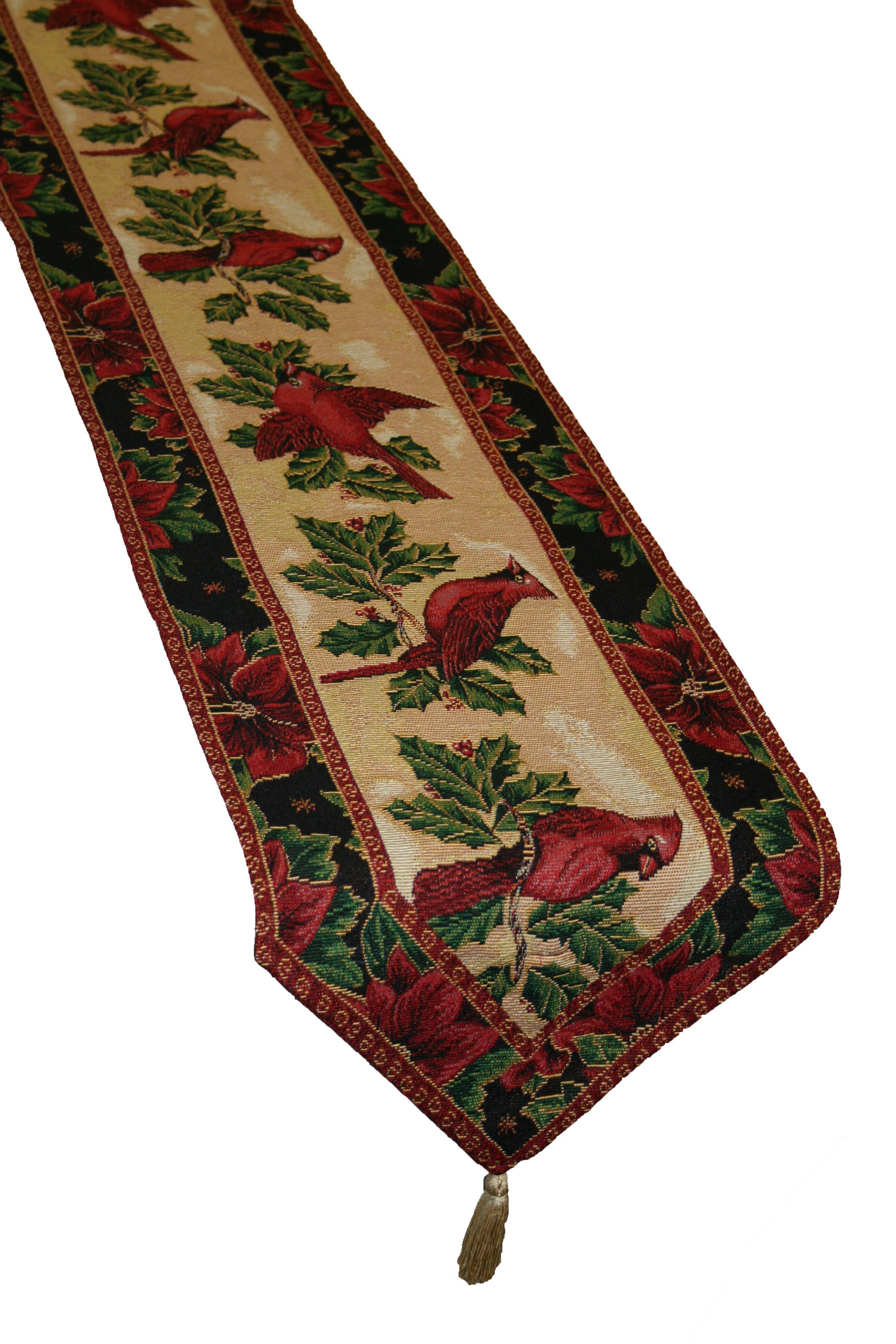 Violet linen decorative christmas tapestry table runner