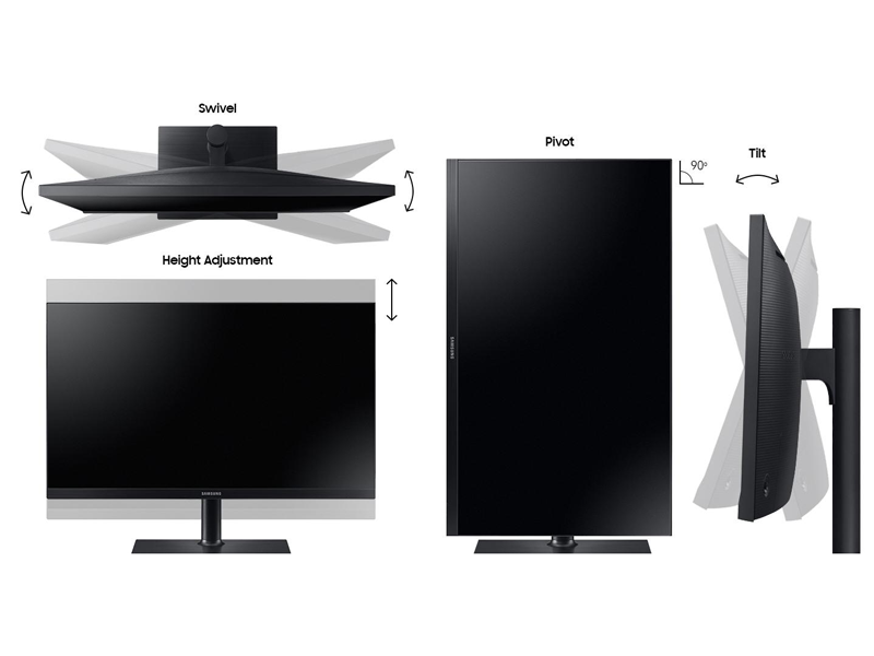 The QHD Monitor swivels, tilts, pivots, and is height-adjustable