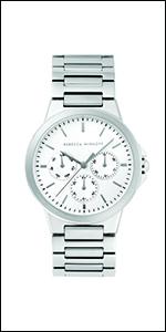 Rebecca Minkoff, watch,minkoff,white dial,silver, stainless steel, steel bracelet, bracelet,