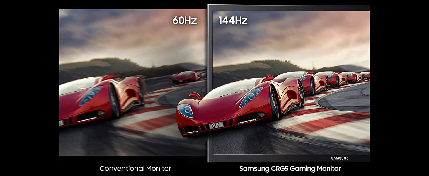 60Hz vs 144Hz side-by-side comparison on a conventional monitor vs. Samsung CRG5 Gaming Monitor