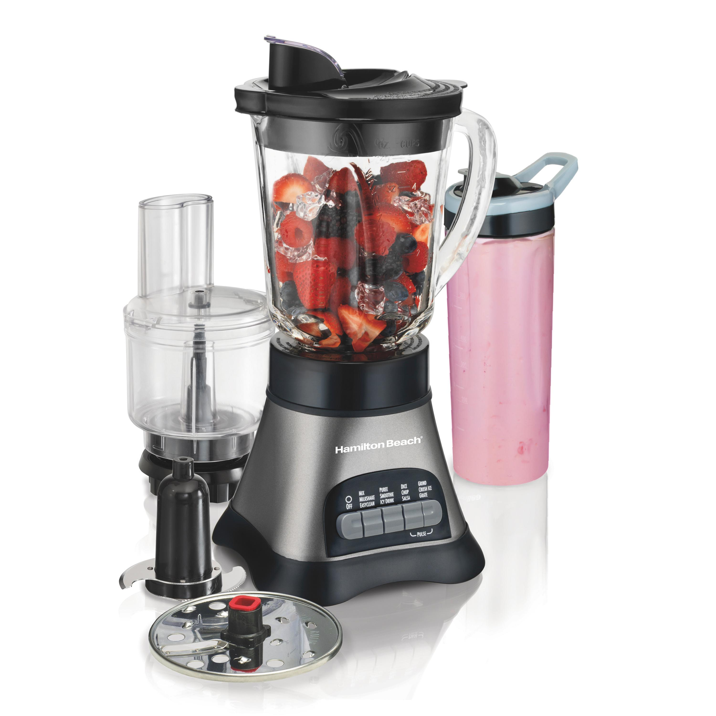 bbc4fc93b4cf Hamilton Beach Wave Crusher Blender System with 40 oz Jar, 20 oz single  Serve Blend-In Travel Jar & Chopper (58163), Grey & Black