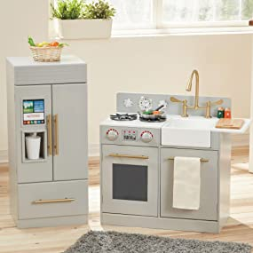 Teamson Kids Chelsea Modern Wooden Kids Play Kitchen Toddler Pretend Play Set With Working Ice Maker And Removable Sink Silver Grey
