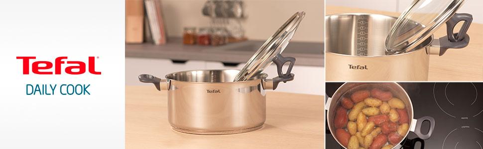 Tefal Daily Cook - Cacerola acero inoxidable con Tapa de 20 cm, 3 Litros, base reforzada, aptas para todo tipo de cocinas incluido inducción, gran ...