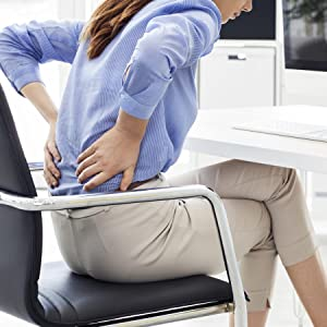 Woman at Desk with Lower Back Pain