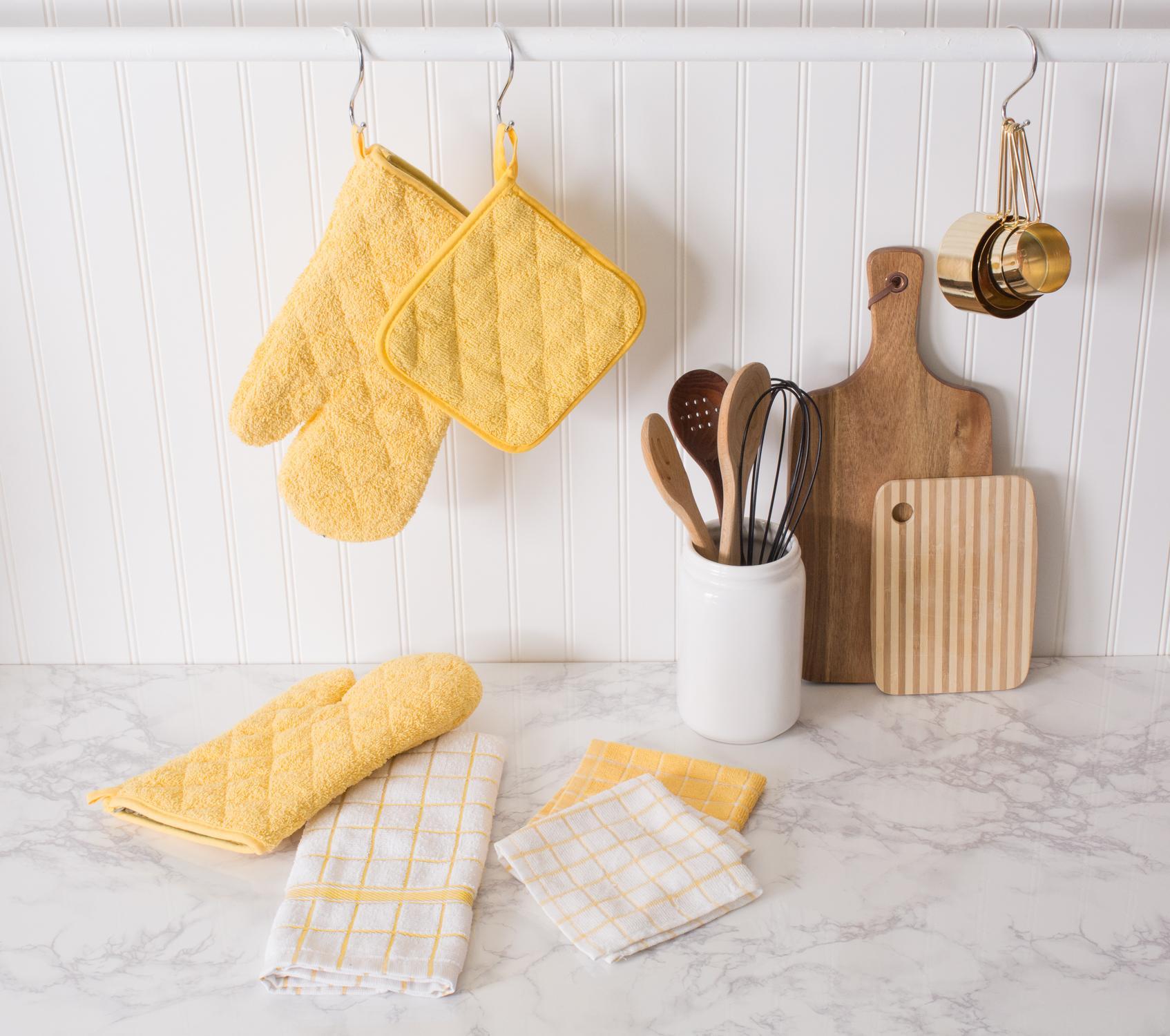Dish Towel Stuck In Garbage Disposal: DII Cotton Terry Windowpane Dish Cloths, 12 X 12 Set Of 6
