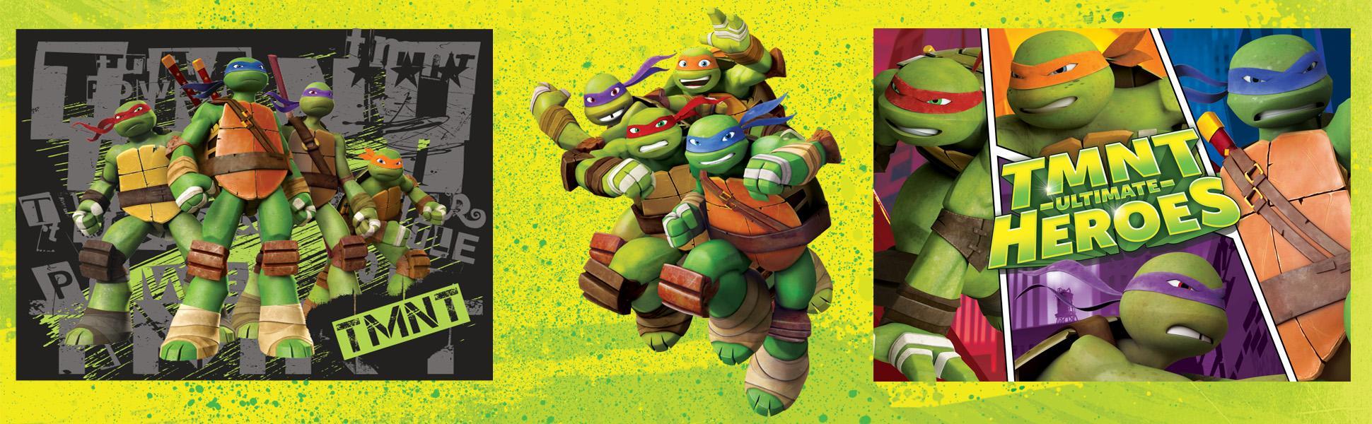 Gertmenian Nickelodeon Ninja Turtles Toys Rug Bedding Wall Decals TMNT Game Rugs w/ Disk Launcher + 4 Standees, 32