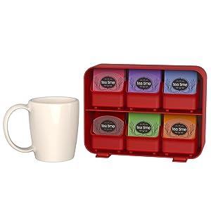 tea bag holder, tea bags, individual, black, red, white, clutch, tea, holder, removable, drawers