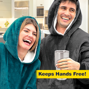 A couple wearing Ontel Huggle Hoodies