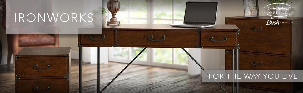 Desk, Mobile Pedestal, File Cabinet, Kathy Ireland, Bush Furniture, Welded  Steel