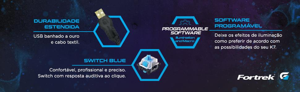 Durabilidade estendida Switch Azul Software programável