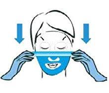 Zeichnung Frau zieht Schutzfolie vom Gesicht.