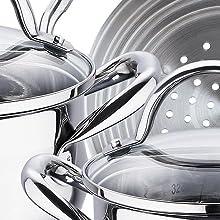 Renberg Juego de Ollas de Inducción, Aluminio, Cobre, 26 cm