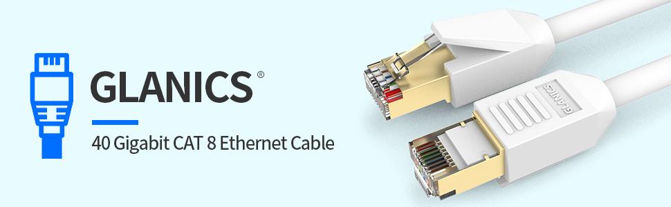 GLANICS 40 Gigabit Cat 8 Ethernet Cable
