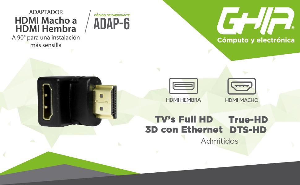 ADAPTADOR CODO GHIA HDMI MACHO A HDMI HEMBRA / ANGULO DERECHO 90 GRADOS / COLOR NEGRO