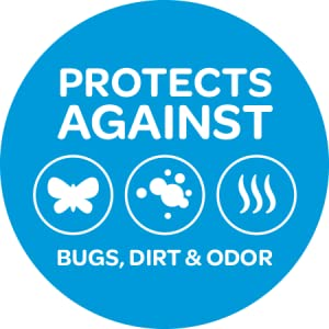 Protect against bugs, moths, dirt, mildew and other odors