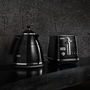 black toaster and kettle