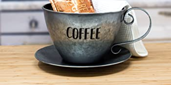 galvenized coffee pod storage k-kup container on a modern kitchen counter