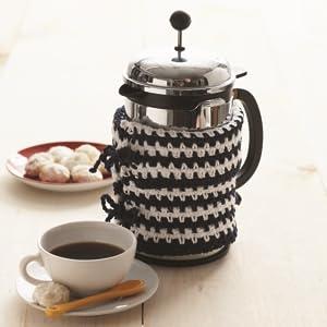 french press holder knit with lily sugar n cream yarn